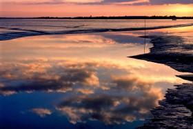 SUNSET;COUCHANT;COUCHER DE SOLEIL;CREPUSCULE;TWILIGHT;REFLECTION;REFLET;MAREE;TIDE;ORANGE;NUAGE;CLOUD