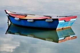 BARQUE;BLUE;FLATTIE;MONKEY BOAT;MOORING;MOUILLAGE;NLEU;PLATE;REFLECTION;REFLET;MORBIHAN
